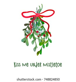 Christmas mistletoe for kisses. Cartoon clip art illustration on isolated background. Watercolour imitation. Poster or postcard design.