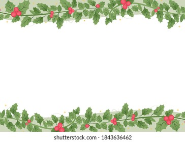 Christmas Mistletoe, Mistletow Wreath Border, Christmas Border Frame, Holiday Decor Background, Christmas Decoration Icon, Wreath Border Vector Illustration Background