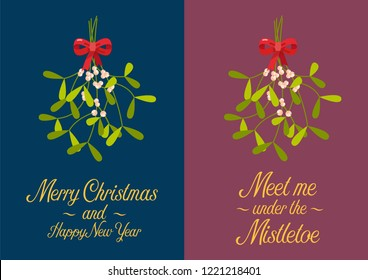Christmas mistletoe poster. Christmas lettering with decorative design elements. Greeting card