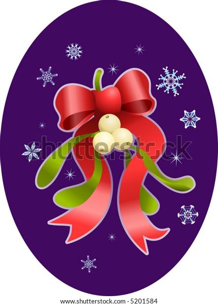 Christmas mistletoe.  A vector illustration of Christmas mistletoe and bow