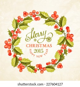 Christmas mistletoe wreath drawing with holiday text. Vector illustration.