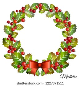 Christmas mistletoe wreath with red holly berries and bow. Christmas door decor. Vector illustration.