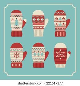 christmas mittens card design. vector illustration
