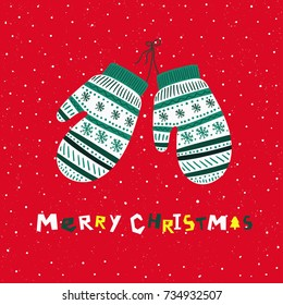 Christmas mittens. Christmas card. Vector illustration.