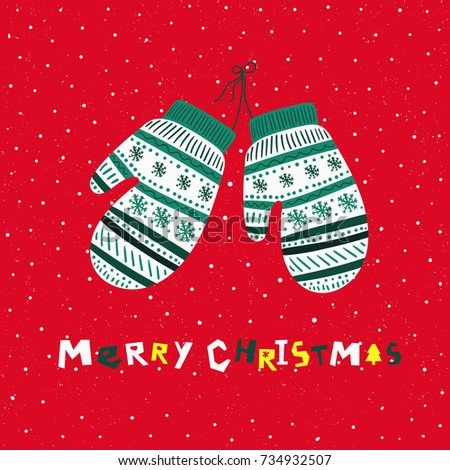 christmas mittens christmas card vector illustration - Christmas Mittens