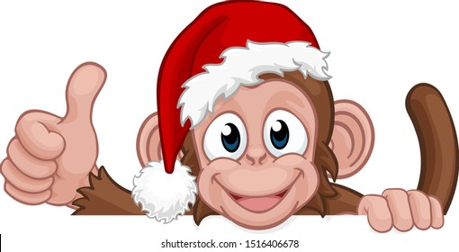A Christmas monkey animal cartoon character in a Santa hat behind a sign peeking over a sign and giving a thumbs up