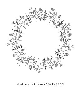 Christmas monoline vector wreath with cone branches and berries with place for text. Isolated xmas illustration for greeting card, poster and web