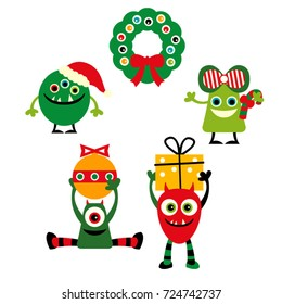 Christmas monsters vector