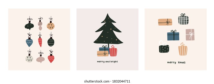 Christmas mood greeting card poster template. Welcome winter season xmas holiday invitation. Minimalist postcard christmas tree, gifts, balls. Vector illustration in hand drawn flat style