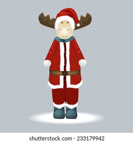 Christmas moose in a red suit
