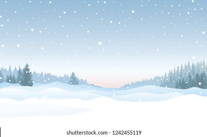 Christmas morning background. Snow winter landscape. Merry Christmas snowy skyline. Winter nature holiday snowfall view.
