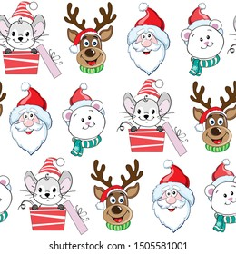 Christmas mouse, deer, santa claus and polar bear on a white background seamless pattern