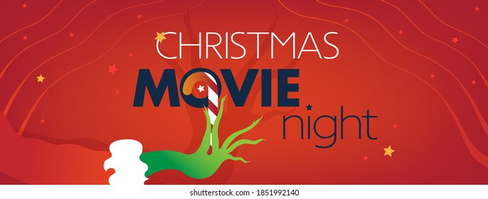 Christmas Movie night Facebook Cover, green hand on red background. Vector Illustration, web site flyer, invitation template for party