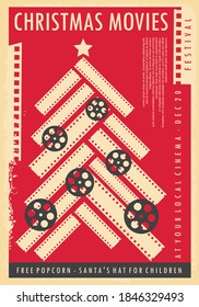 Christmas movies show festive poster design with Christmas tree made from film strips and film rolls on red background. Vector leaflet layout.
