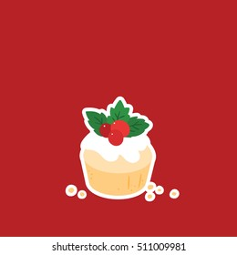 Christmas muffin on simple red background with big copy space on top of the image. Modern flat vector illustration.
