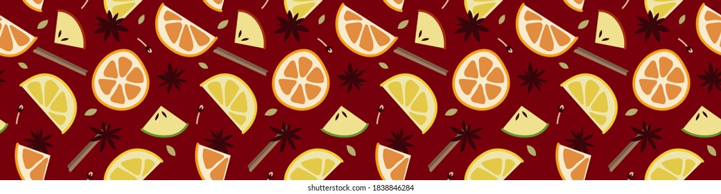 Christmas mulled red wine with citrus fruit, apple, cinnamon, clove, cardamom and anise. Sangria. Winter hot drink. Traditional xmas beverage. Vector seamless pattern, flat cartoon style