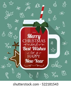 Christmas mulled wine. Greeting card.