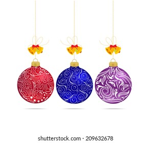 Christmas multicolor balls with bows isolated