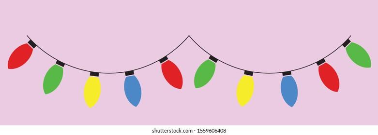 Christmas multicolored garland of light bulbs.