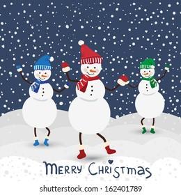 Christmas music card with dance snowman