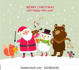 Christmas music. Holidays greeting card with Santa