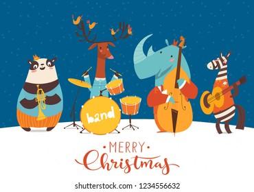 Christmas music jazz party cartoon poster. Vector music poster with cartoon animals musicians playing musical instruents. Jazz concert poster.