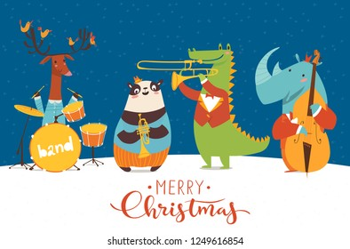 Christmas music night party poster. Vector music poster with cartoon animals musicians playing musical instruents. Jazz concert poster.