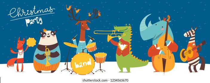 Christmas music party poster. Vector music poster with cartoon animals musicians playing musical instruents. Jazz concert poster.