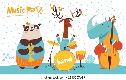 Christmas music party poster. Vector music poster with cartoon animals musicians playing music. Jazz concert poster.