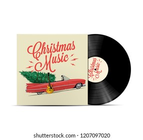 Christmas music playlist cover art. Vinyl disc cover. Realistic vector illustration.