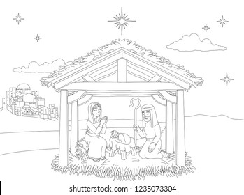 A Christmas nativity coloring scene cartoon, with baby Jesus, Mary and Joseph in the manger. The City of Bethlehem and star above. Christian religious illustration.
