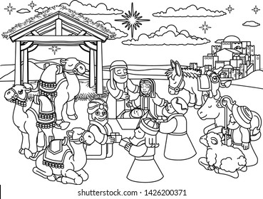 Christmas nativity coloring scene cartoon, baby Jesus, Mary Joseph in manger with three wise men, shepherd and donkey and animals. City of Bethlehem and star above. Christian religious illustration.