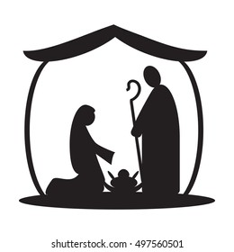 Christmas nativity religious Bethlehem crib scene silhouette, with Holy family of Mary, Joseph and baby Jesus. Simple holiday vector illustration.