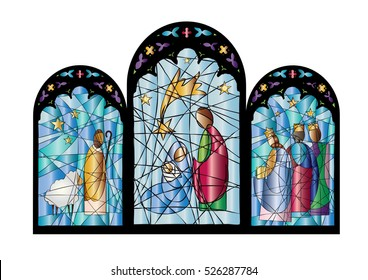 Christmas nativity religious church stained glass window illustration with the Holy family of Mary, Joseph and baby child Jesus, color vector abstract artistic illustration