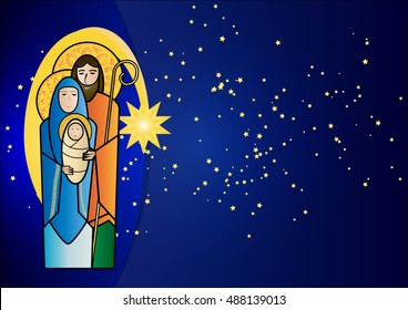 christmas nativity religious scene holy family jesus mary and joseph with bethlehem star in a starry night background with copy space for text