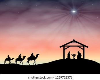 Christmas nativity scene of baby Jesus in the manger with Joseph and Mary.
