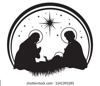 Christmas nativity scene  with baby Jesus, Mary and Joseph in the manger.Traditional christian christmas story. Vector illustration for children.