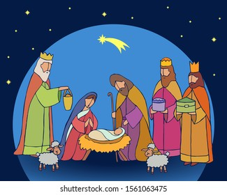 Christmas nativity scene with baby Jesus, Mary and Joseph in the manger with lambs. Three wise kings arrives with divine gifts. Star of Bethlehem. Christian vector illustration.