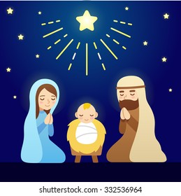 Christmas Nativity Scene with baby Jesus, Mary and Joseph under sky of stars. Modern vector cartoon illustration.