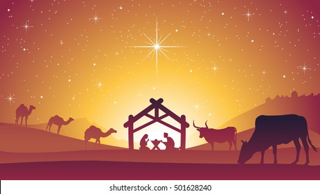 Christmas Nativity Scene with Baby Jesus Christ in Manger
