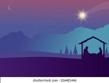 Christmas nativity scene of baby Jesus