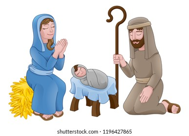 A Christmas nativity scene cartoon, with baby Jesus, Mary and Joseph in the manger.