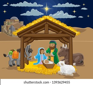 A Christmas nativity scene cartoon, with baby Jesus, Mary and Joseph in the manger and donkey and other animals. The City of Bethlehem and star above. Christian religious illustration.