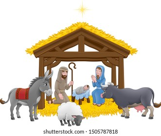 A Christmas nativity scene cartoon, with baby Jesus, Mary and Joseph in the manger with donkey and other animals and star above. Christian religious illustration.
