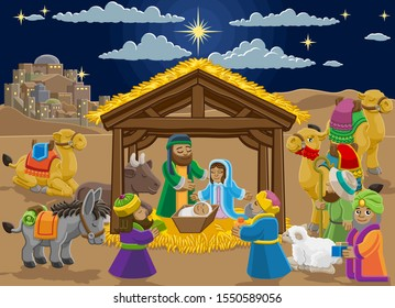 Christmas nativity scene cartoon. Baby Jesus, Mary and Joseph in manger, three wise men, shepherd and donkey and other animals. The City of Bethlehem and star above. Christian religious illustration.