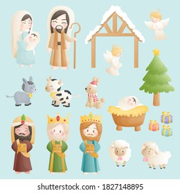 Christmas nativity scene cartoon collection, with baby Jesus, Mary and Joseph in the manger with 3 wise men, donkey and other animals. Christian religious illustration.