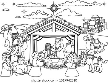 Christmas nativity scene coloring cartoon with baby Jesus, Mary Joseph in manger three wise men, shepherd donkey other animals. The City of Bethlehem and star above. Christian religious illustration.