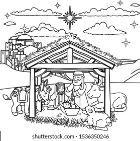 A Christmas nativity scene coloring cartoon, with baby Jesus, Mary and Joseph in the manger and donkey and other animals. The City of Bethlehem and star above. Christian religious illustration.