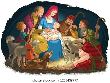 Christmas Nativity Scene with Holy Family (baby Jesus, Mary, Joseph) and shepherds. Also available coloring page illustration in gallery