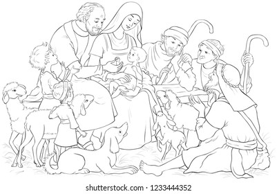 Christmas Nativity Scene with Holy Family (baby Jesus, Mary, Joseph) and shepherds. Coloring page. Also available colored illustration in gallery